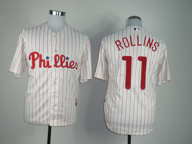 Lower Price Mens Philadelphia Phillies Jersey #11 Jimmy Rollins White Baseball Jersey,embroidered Logo,accept retail mixed order