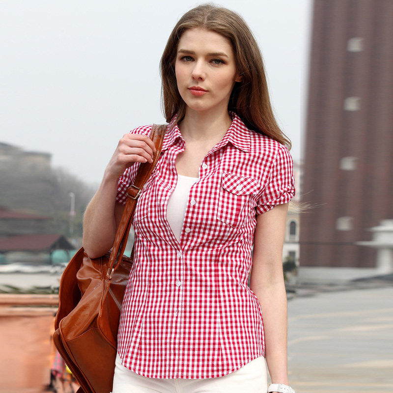 Pink Plaid Shirts For Women Summer Style Short Sleeve