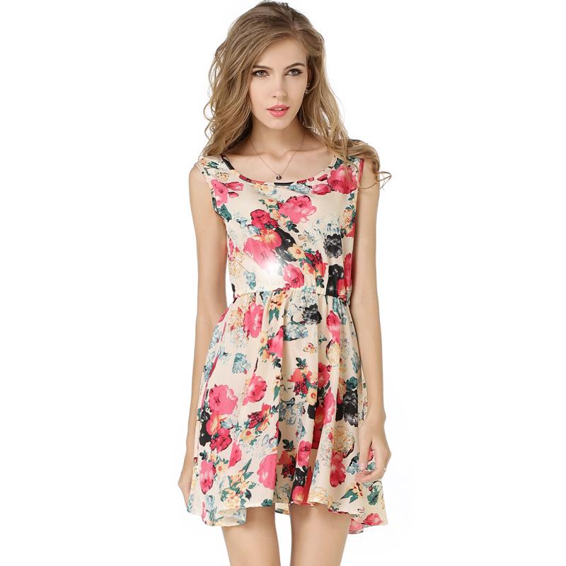 2016 Brand New Summer Autumn Sleeveless Dress Big Flower Print Chiffon Dress Long Vest Fancy Dress Floral Romper Women Hot Party(China (Mainland))