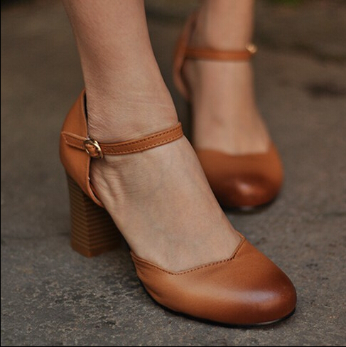 Handmade genuine leather women's shoes shallow mouth low shoes thick high-heeled fashion women's pumps free shipping