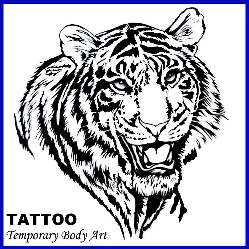 Sexy Temporary Tattoo Stickers Temporary Body Art Supermodel Stencil Designs Waterproof Tiger Tattoo Pattern(China (Mainland))
