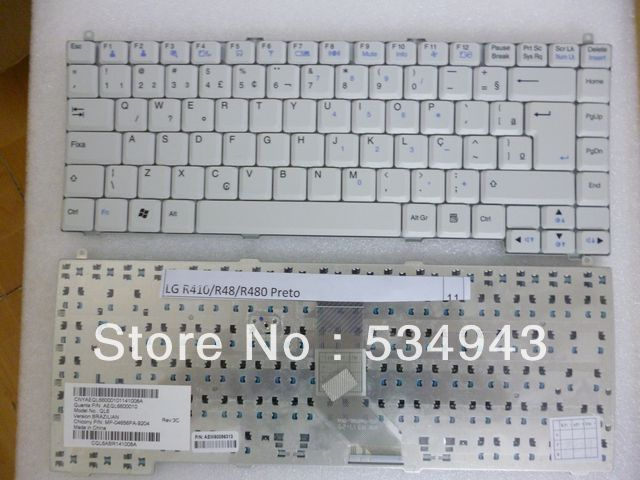 OEM Laptop keyboards for LG R410/R48/R480 Preto/New,Original/Brazil Layout/White