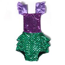 2016 Mermaid Sequin Romper Summer Child Girl Jumpsuit Green Mermaid Girls Rompers Purple Sequins Newborn Clothes Wholesale(China (Mainland))