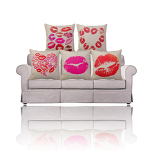 Red/pink Lipstick printed throw pillow covers