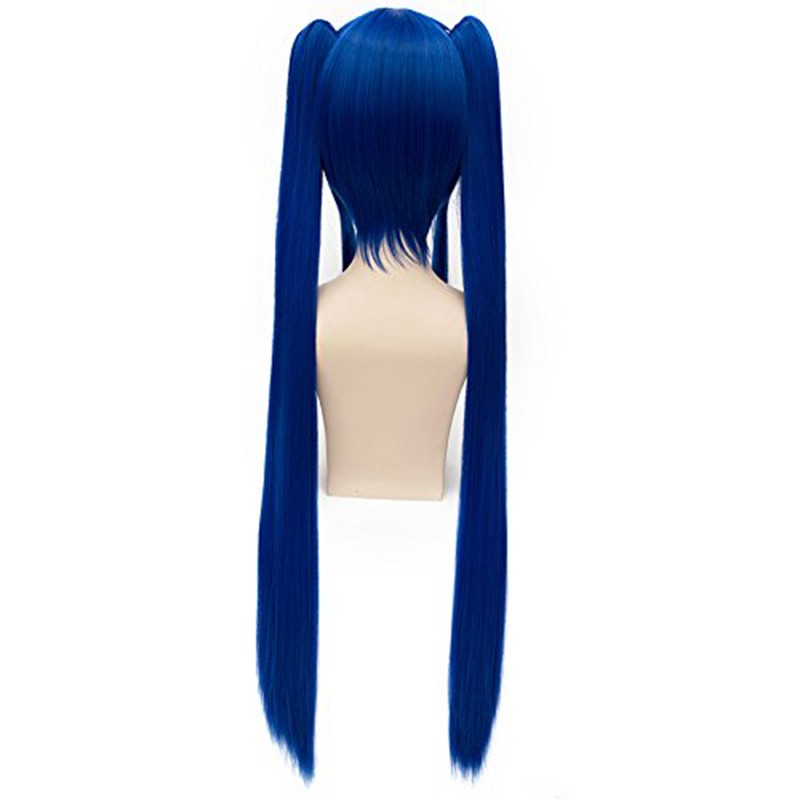 Japan Anime Wendy Marvell Wig Fairy Tail Cosplay Wig Long Straight Dark Blue Double Ponytail Cosplay Costume Party Wigs