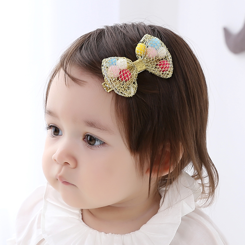 1 piece Colorful Ball Bow hair clip Rubber Band Elastic Bands Gum hair accessories Headwear baby hair clips for girl(China (Mainland))