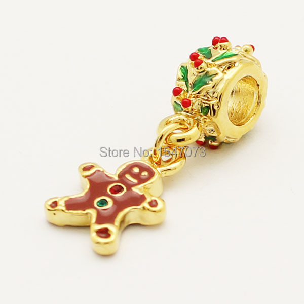 Holly Gingerbread Man Cookie Brown Charms Bracelets Fit All Brands(China (Mainland))