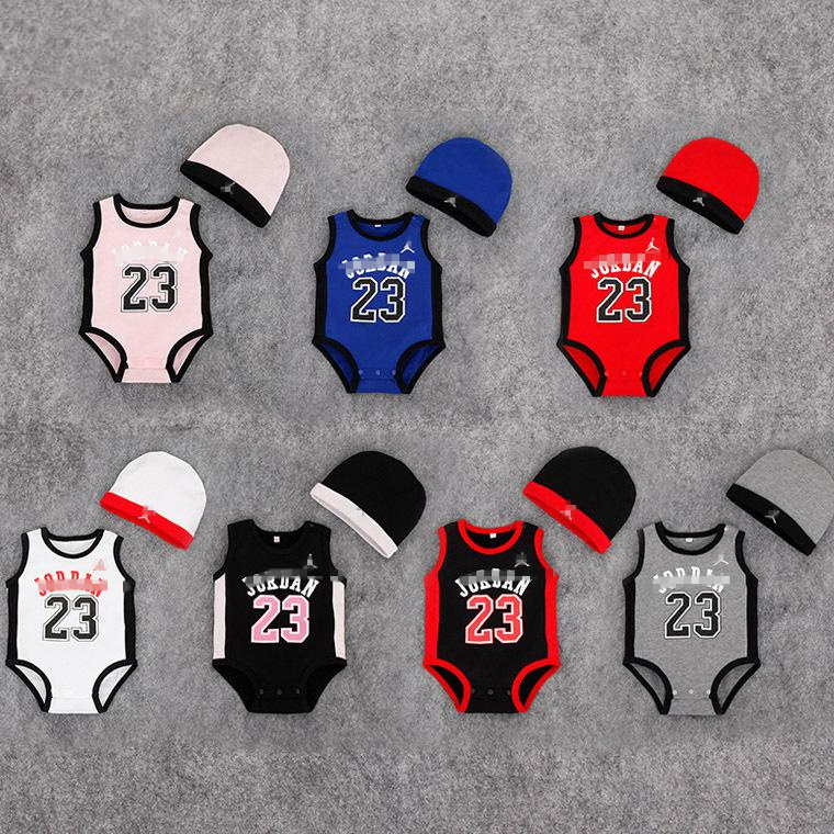 Summer 2016 New Fashion Brand romper Sleeveless JumpSuit Newborn Baby Jordan clothes+Hat Boy Girl basketball jersey 23(China (Mainland))