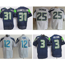 cheap Mens #25 Richard Sherman #12 12th Fan #31 Kam Chancellor #3 Russell Wilson 89# baldwin College Navy Elite Stitched Logos(China (Mainland))