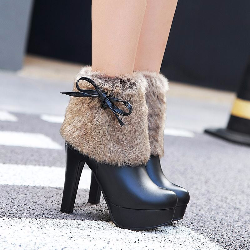 Big Size 34-43 High Heels Fur Shaft Lady's Warm Ankle Boots Zip Platform Add Fur Fall Winter Shoes Fashion Round Toe Women Boots