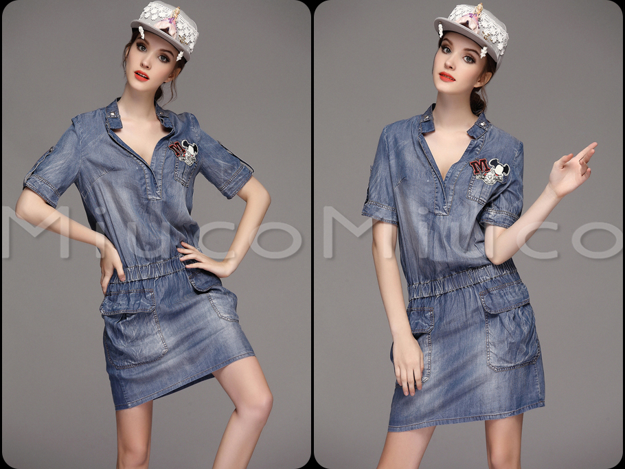 2015S - XL summer dress women OLV collar waist thin short-sleeved denim pocket sales Sexy Woman On Line Store store