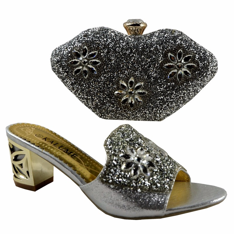 (No.1281) 2016 Charming Italian Shoes With Matching Bags Rhinestones,Silver African Shoes And Bags Set for Wedding Size 38-42