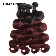 Buy 10A Ombre Brazilian Hair Body Wave Ombre Brazilian Hair Weave Bundles 1B/Burgundy 4pcs/Lot Today Products Ombre Virgin Hair for $50.26 in AliExpress store