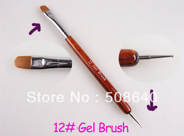 NEW Style #12 Nail Art Gel Brush + Doting Tool Pen 10pcs/pack Excelent Brushes For UV Nails Desgin Accessories 438(China (Mainland))