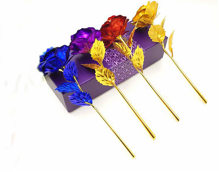 24k Gold Foil Plated Rose Golden Wedding Decoration Flower Valentine's Day Gift lover's Dipped artificial flower DHL fedex EMS(China (Mainland))