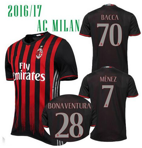 Top Quality Soccer Jersey AC Milan Football Shirts 2016 17 Bacca Bertolacci Romagnoli Bonaventura MILAN Home Maillot Menez Serie(China (Mainland))