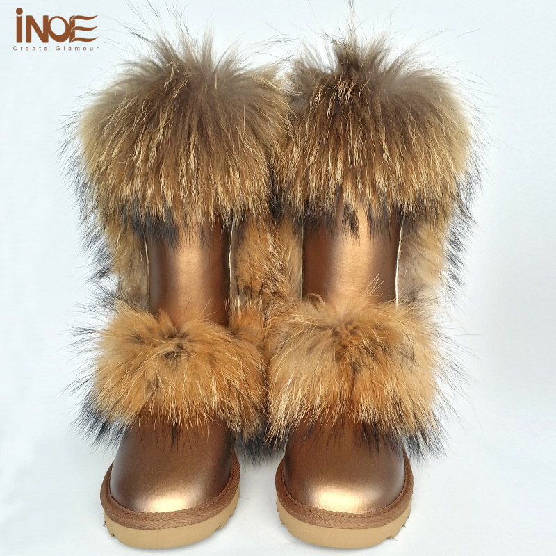 2014New fashion snow boots for women winter shoes tall boots real sheepskin leather big nature fox boots waterproof high quality<br><br>Aliexpress