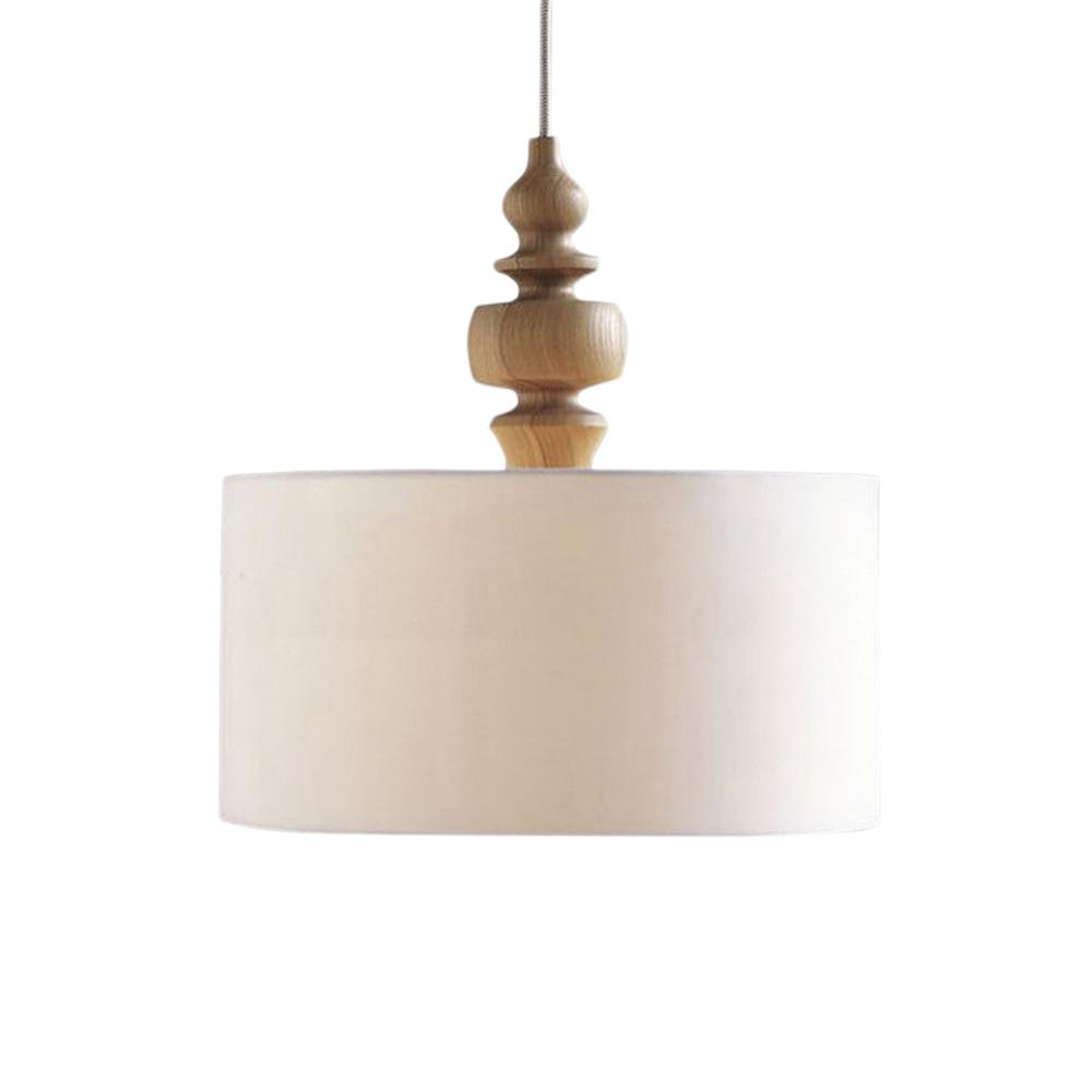 Simple et moderne tissu tambour pendentif lampe nordic ronde pendentif lumière bois art salle de lampe