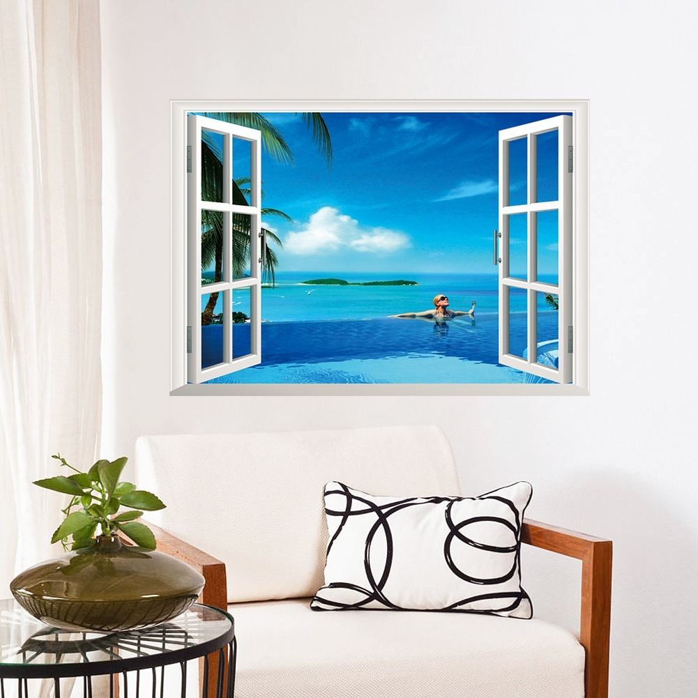2016 New Arrival Beautiful Sea View Coconut Tree 3D Window Removable Wall Sticker Decals PVC Vinyl Art Decor 68x48CM(China (Mainland))