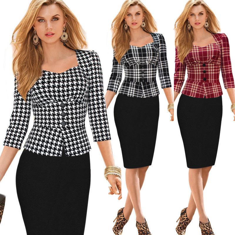 2015 New Free Shipping Hot Sale Women Summer/Autumn Collar Sleeve Plaid Color False Ruffle Dress Ren Bback Work Wear Clothes(China (Mainland))