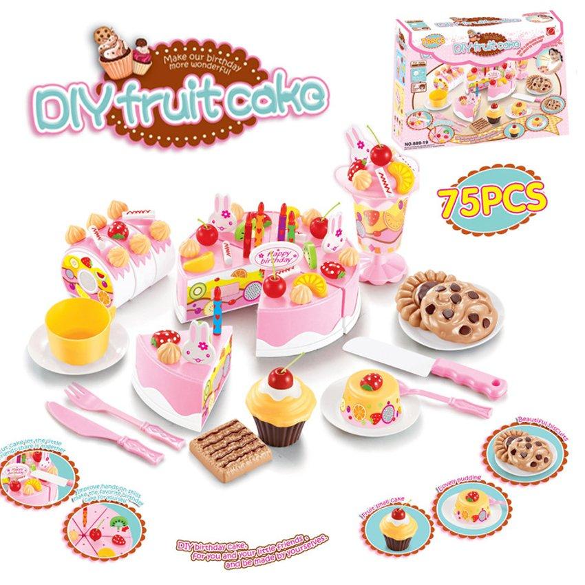 DIY Fruitcake 75pcs/set Cookware Set Fruit Birthday Cake Children Play House Toys Kitchen Kid Educational Assemb(China (Mainland))