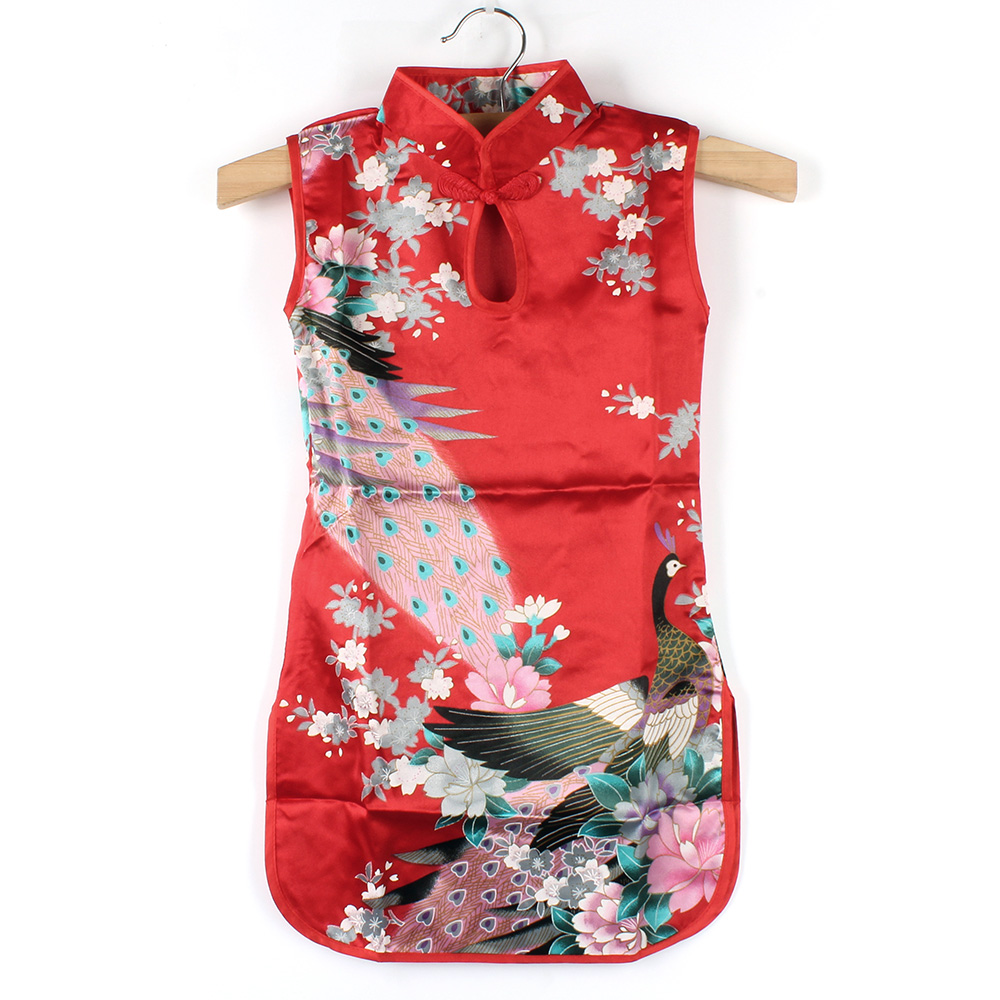 COCKCON Summer Chinese Child Girls Baby Peacock Cheongsam Dress Qipao 2-8Y Clothes(China (Mainland))