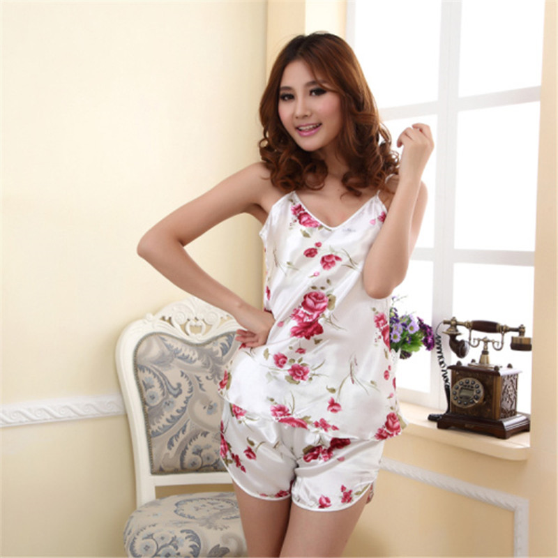 Sexy Pajamas Women Silk Floral Braded Robe Sleepwear Lingerie Nightdress Babydoll Pajamas Set V-Neck + Pyjama Trousers