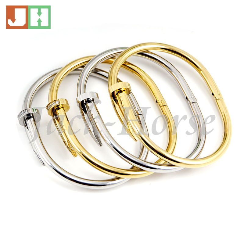 24k Gold Plate Jewelry Stainless Steel nail bracelet bangles jewelry women(China (Mainland))