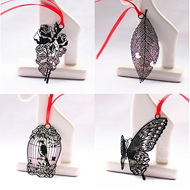 black Metal Bookmark Cage,feather,leaf,Butterflies,flowers Bookmarks Paper clip for book Stationery CT0001(China (Mainland))