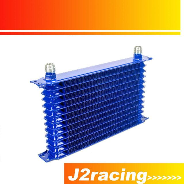 J2 RACING STORE BLUE UNIVERSAL 13ROW 10AN 10AN UNIVERSAL ENGINE TRANSMISSION OIL COOLER TRUST TYPE JR5113B