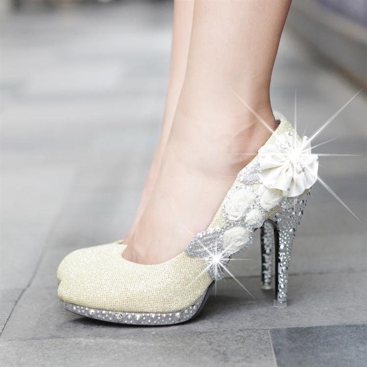 glitter lace rose flowers evening party women bridesmaid wedding shoes