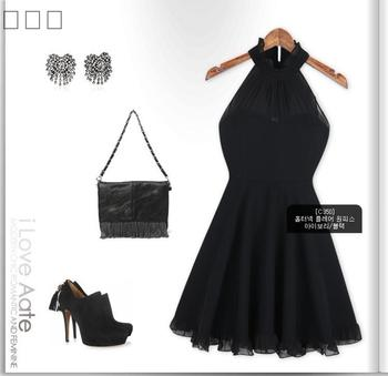 2014 NEW Europe American Style Womens Fashion Elegant Halter Neck Black Casual Party Dress
