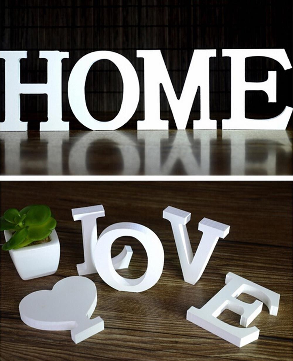 Home Decor Decoration thick Wood Wooden White Letters Alphabet Wedding Birthday Gift Wall Decor(China (Mainland))