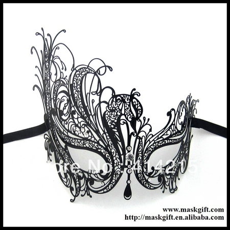 Excellent! MF001 Venetian Luxury Black Laser Cut Metal Masquerade Mask Rhinestones - Chaozhou Xiangqiao Yuhan Craft Factory store