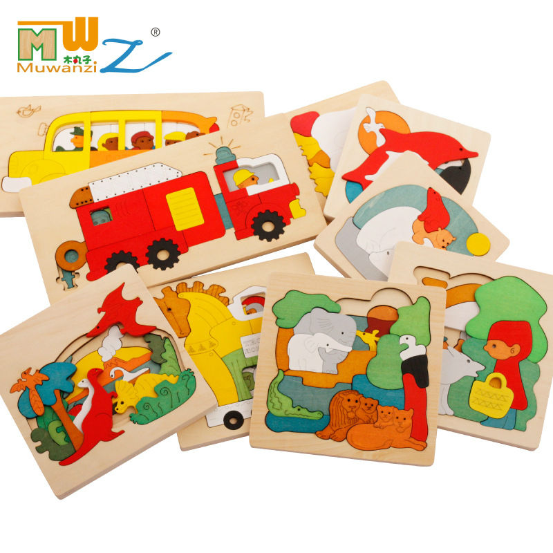 Free delivery kids wood multilayer cartoon jigsaw puzzle early childhood educational wooden toys baby gift(China (Mainland))