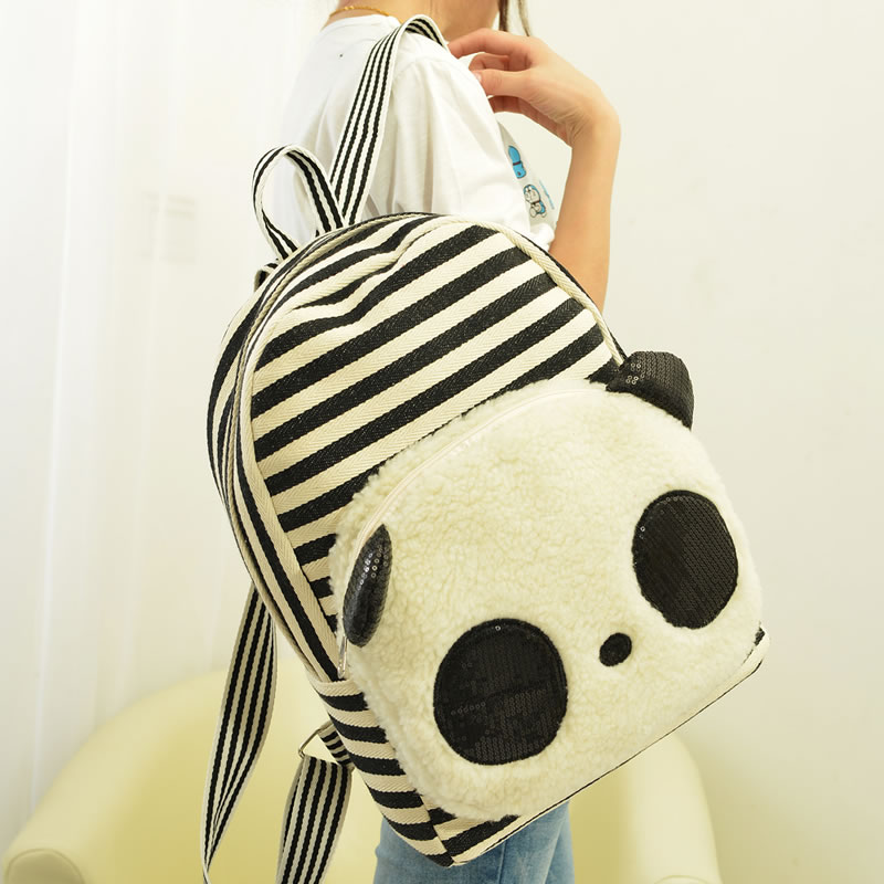 Super soft 1pc 41cm cartoon sequins panda stripe canvas college students backpacks school bag children women funny girl toy gift(China (Mainland))