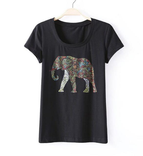 Summer fashion women 39 s clothing ironing drill elephant for Elephant t shirt women s