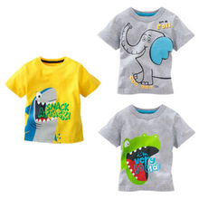 Free shipping New Lovely printting Baby Kids Boys Cartoon Tops T-shirts summer children's clothing Age 1-6Y(China (Mainland))