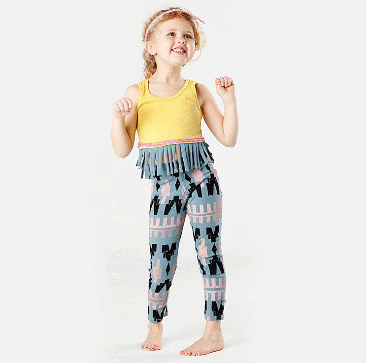 Summer Baby Girls Clothing Set Cotton Toddler Tassel Vest + Plaid Pants Girls Outfits Tracksuit set(China (Mainland))