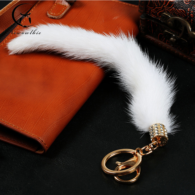 Hot genuine real mink fur Fashion trendy accessories Copenhagen Natural color mink tail key bag chain(China (Mainland))