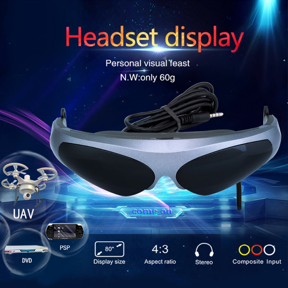 """Excelvan 922A FPV glasses Virtual Reality Video Glasses VR 80"""" HD Screen 640*480 Resolution FPV Goggle For Multicopter Drone(China (Mainland))"""