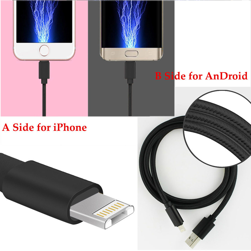 2016 Newest 2 in 1 2.4A Universal Micro Usb Cable Charging For Android & iPhone 5 5s 6 6s plus Samsung Xiao mi Data Line Cord(China (Mainland))