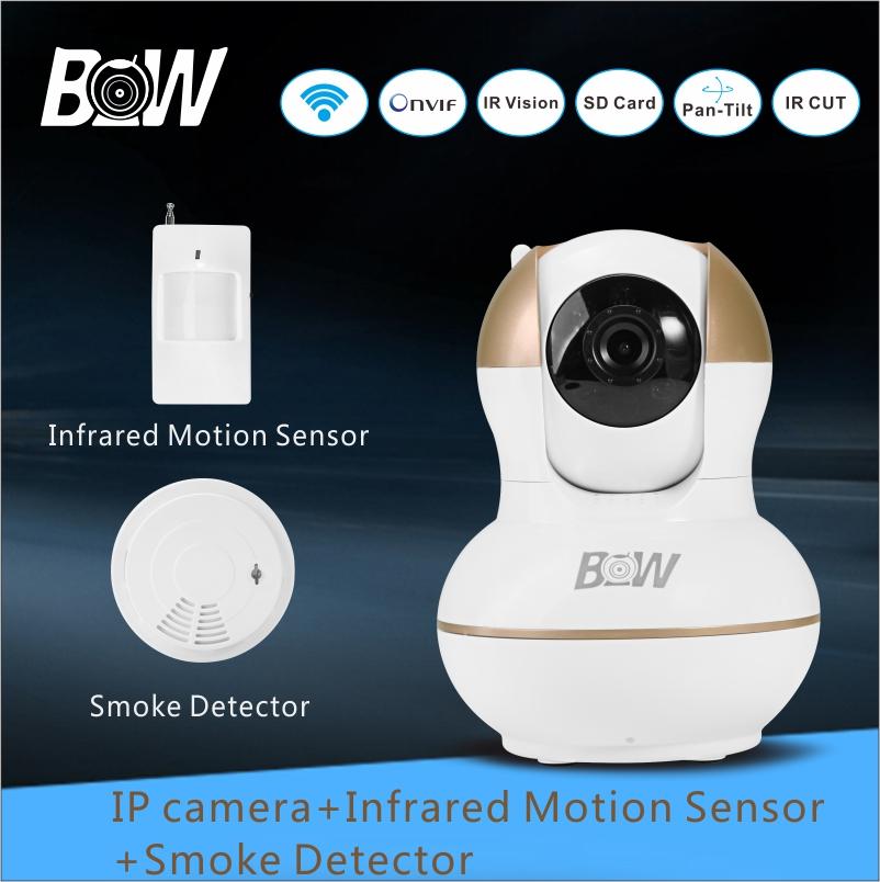 Surveillance Camera System Security IP camera Alarm AHD P2P 720P + Infrared Motion Sensor +Smoke Detector System CCTV BW012G(China (Mainland))
