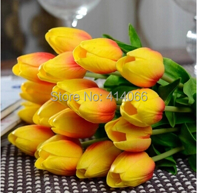 12 pieces lot Artificial flower high quality real touch PU Tulip desktop wedding home decoration gift