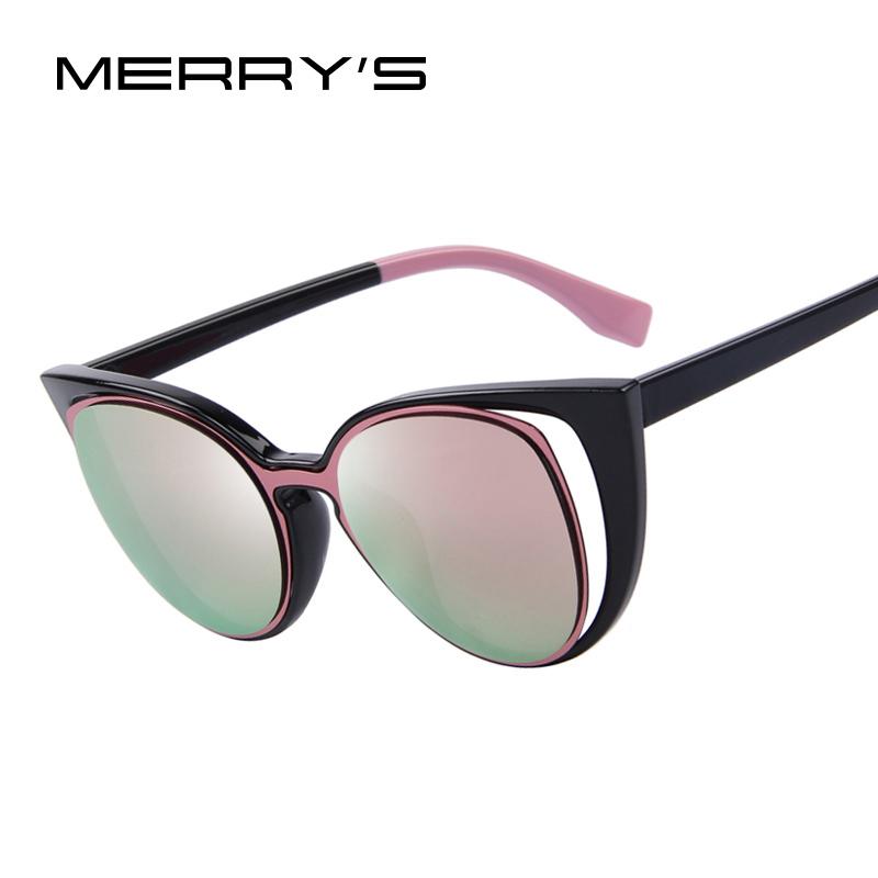 MERRY'S Fashion Cat Eye Sunglasses Women Brand Designer Retro Pierced Female Sun Glasses oculos de sol feminino UV400(China (Mainland))