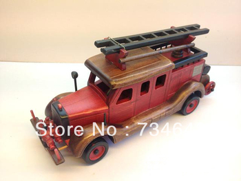 Handmade Wooden Decorative Home Accessory Classic Vintage Style Red Fire Truck Model