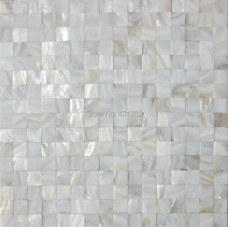 Buy white luster mother of pearl tiles for Dosseret salle de bain
