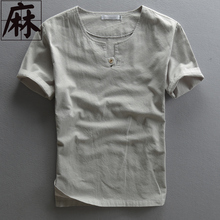 2016 Fashion Summer Male Casual Linen T-shirt Shortsleeve Vintage Fluid Breathable Thin Pullover Men Brand Import Clothing Shirt