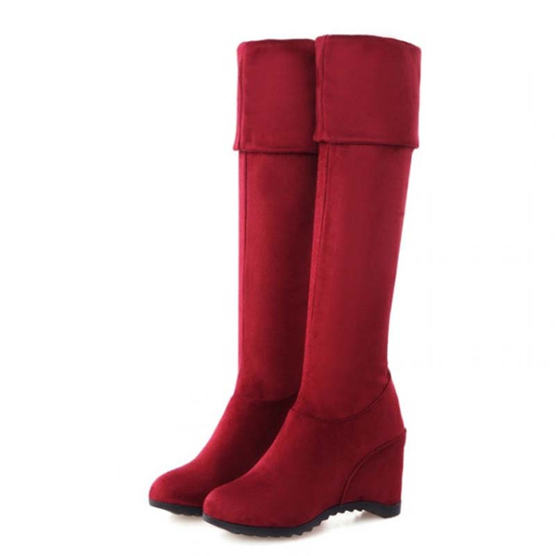 Stretch Fabric Over-the-Knee Boots Shoes New Wedges Fashion Round Toe High Boots 4 color Winter Long Boots Shoes Women<br><br>Aliexpress