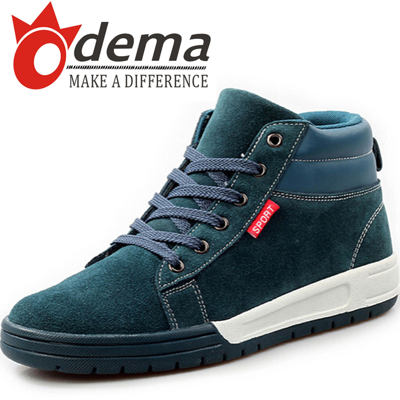 ODEMA New Sneakers Fashion Men Shoes Autumn Genuine Leather Suede Lace Men Boots High Top Size 39-44(China (Mainland))